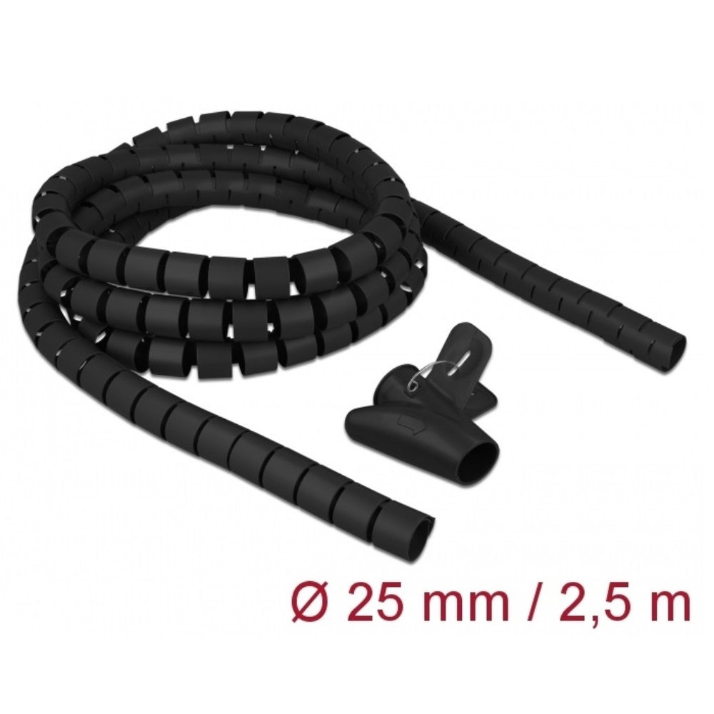 Delock Spiral Hose 2.5m x 25mm Black (18837)