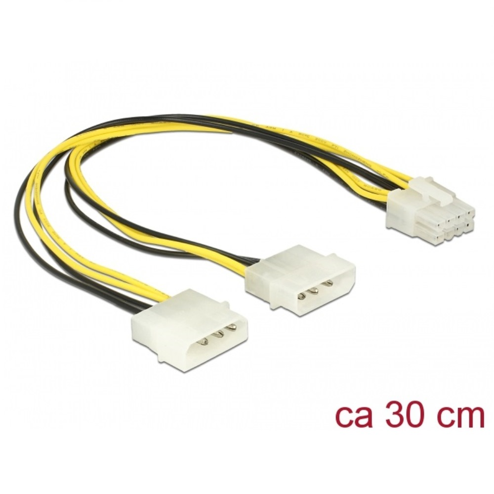 Delock Power Cable 2 x 4pin Molex > 8pin EPS 30cm (85453)